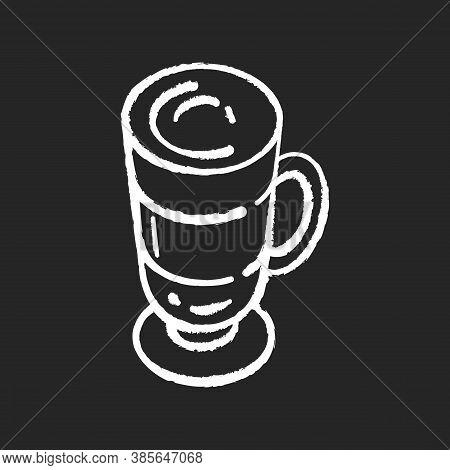 Frappe Chalk White Icon On Black Background. Layered Drink In Glass Mug. Macchiato In Mug. Cafe Menu