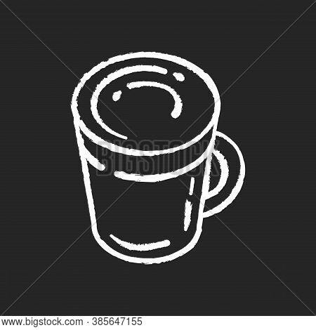 Latte Chalk White Icon On Black Background. Coffee Mug. Hot Beverage In Glass Cup. Cappuccino With F