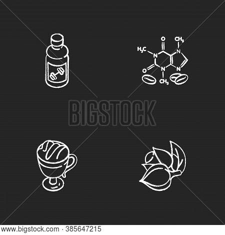 Drinks And Ingredients Chalk White Icons Set On Black Background. Caffeine Formula. Guarana Plant. C