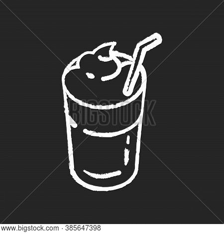 Mocha Chalk White Icon On Black Background. Coffee Drink With Foam And Straw. Beverage In Glass Mug.