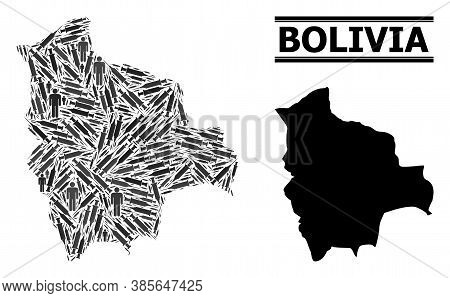 Vaccine Mosaic And Solid Map Of Bolivia. Vector Map Of Bolivia Is Shaped From Vaccine Doses And Peop