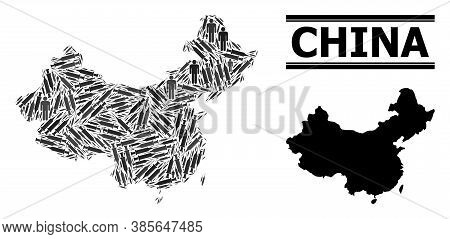 Covid-2019 Treatment Mosaic And Solid Map Of China. Vector Map Of China Is Shaped From Syringes And
