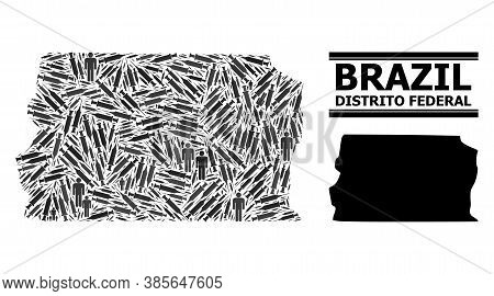 Inoculation Mosaic And Solid Map Of Brazil - Distrito Federal. Vector Map Of Brazil - Distrito Feder