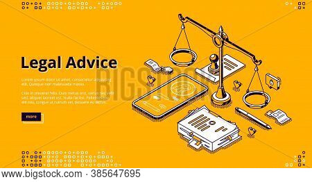 Legal Advice Isometric Landing Page. Online Lawyer Assistance For Regulation Legal Issues And Compli