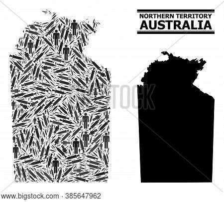 Vaccine Mosaic And Solid Map Of Australian Northern Territory. Vector Map Of Australian Northern Ter
