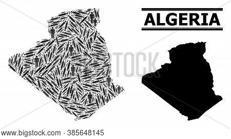 Virus Therapy Mosaic And Solid Map Of Algeria. Vector Map Of Algeria Is Composed Of Syringes And Men