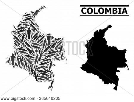 Covid-2019 Treatment Mosaic And Solid Map Of Colombia. Vector Map Of Colombia Is Formed Of Injection
