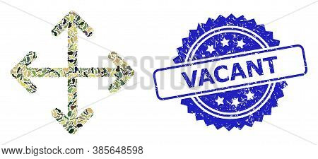 Military Camouflage Collage Of Expand Arrows, And Vacant Rubber Rosette Stamp Seal. Blue Stamp Seal