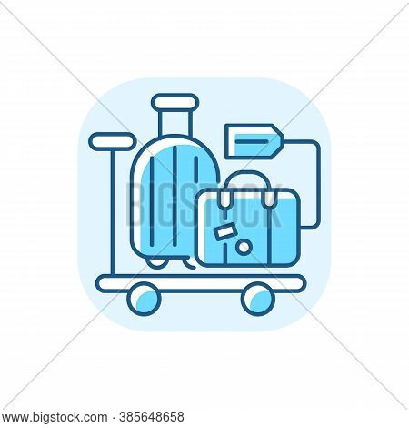 Baggage Car Blue Rgb Color Icon. Railway Transportation, Train Service. Holiday Trip, Vacation. Pass