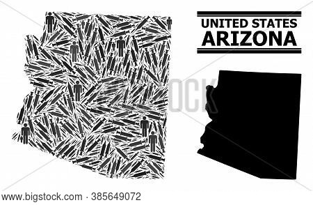 Inoculation Mosaic And Solid Map Of Arizona State. Vector Map Of Arizona State Is Designed From Inoc