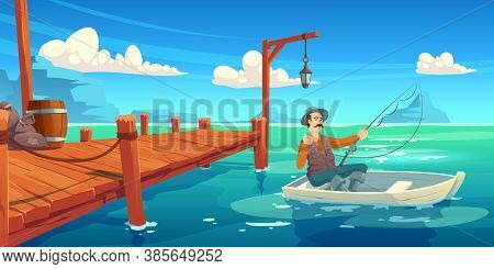 Lake With Wooden Pier And Fisherman In Boat. Vector Cartoon Illustration Of Summer Landscape With Ri