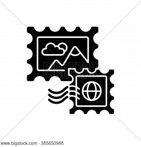 Postage Stamps Black Glyph Icon. Collecting Rare Postmarks Hobby, Philately Silhouette Symbol On Whi
