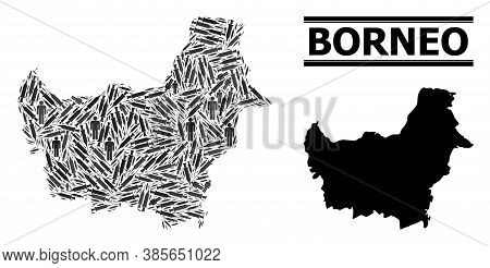Covid-2019 Treatment Mosaic And Solid Map Of Borneo Island. Vector Map Of Borneo Island Is Designed