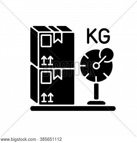Cargo Weight Black Glyph Icon. Postal Service, Freight Transportation Silhouette Symbol On White Spa