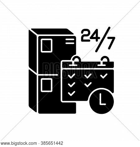 Schedule Package Pickup Black Glyph Icon. Mail Service Organization, Postal Logistics Silhouette Sym
