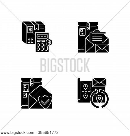 Mail Black Glyph Icons Set On White Space. Calculating Cargo Price, Cargo Insurance, Address Change