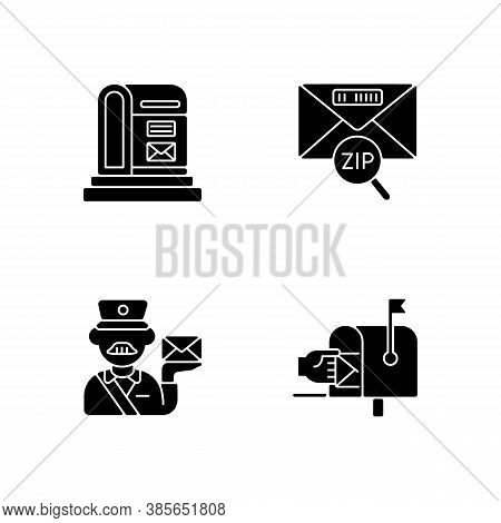 Courier Delivery Black Glyph Icons Set On White Space. Professional Mailman, Letter Zip Code, Parcel