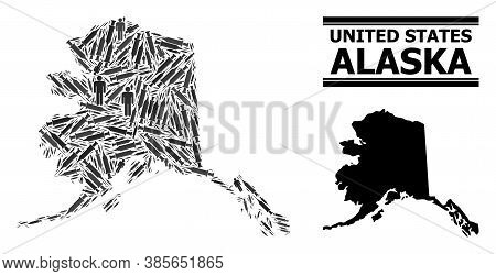 Virus Therapy Mosaic And Solid Map Of Alaska State. Vector Map Of Alaska State Is Created Of Vaccine
