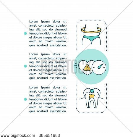 Energy Drinks Risks Concept Icon With Text. Adiposity, Arrhythmia And Ruin Teeth. Ppt Page Vector Te