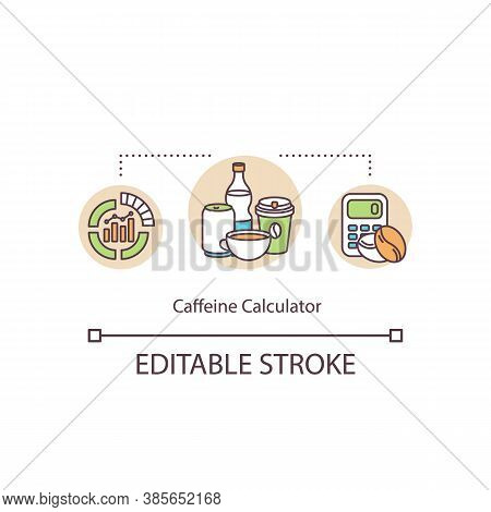 Affeine Calculator Concept Icon. Calculation Of Daily Dose. Risk Overdose Energy Drinks And Coffee I
