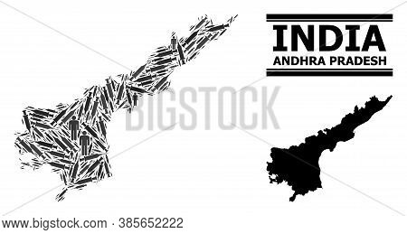 Vaccine Mosaic And Solid Map Of Andhra Pradesh State. Vector Map Of Andhra Pradesh State Is Done Of