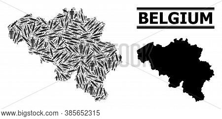 Vaccine Mosaic And Solid Map Of Belgium. Vector Map Of Belgium Is Organized With Syringes And Men Fi