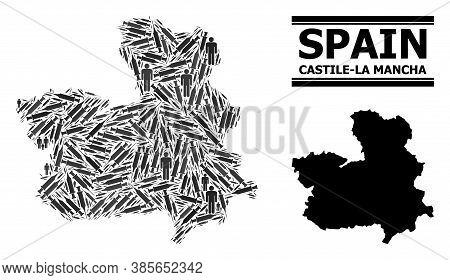 Covid-2019 Treatment Mosaic And Solid Map Of Castile-la Mancha Province. Vector Map Of Castile-la Ma