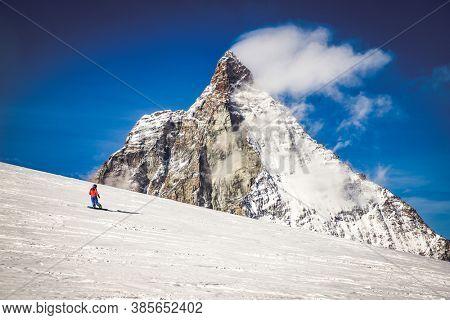 amazing winter landscape in the Swiss Alps Matterhorn