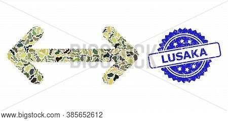 Military Camouflage Collage Of Swap Arrows, And Lusaka Grunge Rosette Stamp Seal. Blue Stamp Seal In