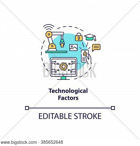 Technological Factors Concept Icon. Pestel Analysis. Devices Stop Working. Communication Troubles Id