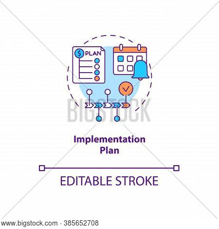 Implementation Plan Concept Icon. Communication Strategy Components. Step By Step Tutorial For Bette