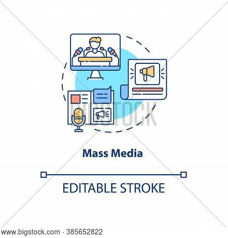 Mass Media Concept Icon. Communication Channels. Watching Tv. Information From Journals And Newspape