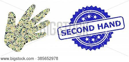 Military Camouflage Combination Of Hand, And Second Hand Unclean Rosette Stamp. Blue Seal Includes S