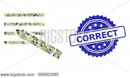 Military Camouflage Collage Of Edit Text, And Correct Grunge Rosette Seal Imitation. Blue Stamp Seal