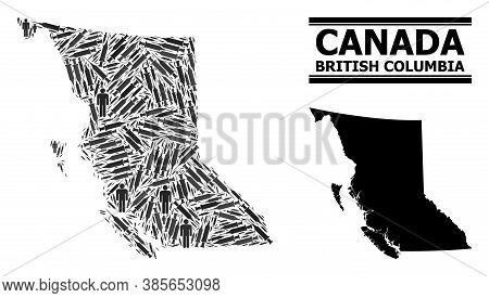 Vaccine Mosaic And Solid Map Of British Columbia Province. Vector Map Of British Columbia Province I