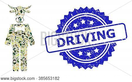 Military Camouflage Combination Of Bull Gentleman, And Driving Unclean Rosette Seal Imitation. Blue