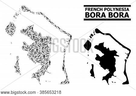 Vaccination Mosaic And Solid Map Of Bora-bora. Vector Map Of Bora-bora Is Constructed With Vaccine D
