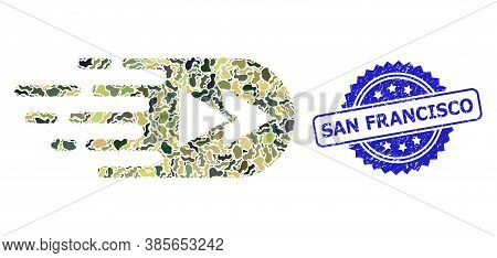 Military Camouflage Collage Of Rewind Forward, And San Francisco Corroded Rosette Stamp. Blue Stamp