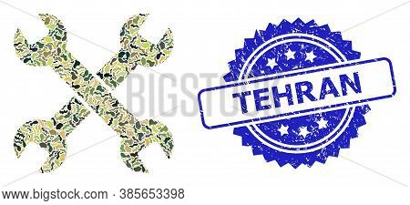 Military Camouflage Collage Of Spanners, And Tehran Scratched Rosette Seal. Blue Seal Has Tehran Tex