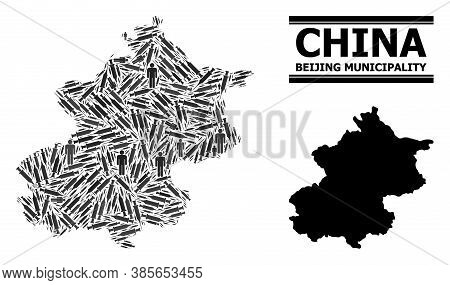 Vaccine Mosaic And Solid Map Of Beijing Municipality. Vector Map Of Beijing Municipality Is Made Of