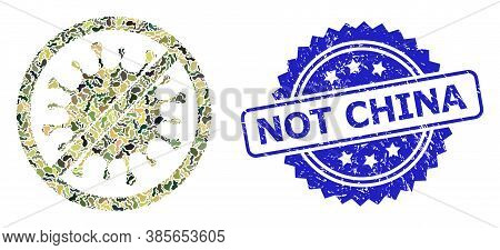 Military Camouflage Collage Of Stop Microbe, And Not China Textured Rosette Stamp. Blue Stamp Includ