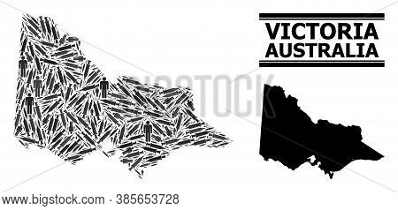 Inoculation Mosaic And Solid Map Of Australian Victoria. Vector Map Of Australian Victoria Is Design