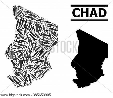 Vaccine Mosaic And Solid Map Of Chad. Vector Map Of Chad Is Designed From Injection Needles And Men