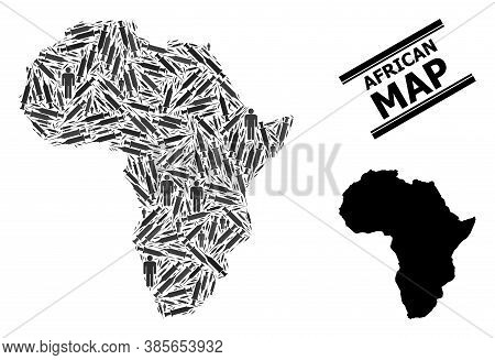 Inoculation Mosaic And Solid Map Of Africa. Vector Map Of Africa Is Constructed With Vaccine Symbols