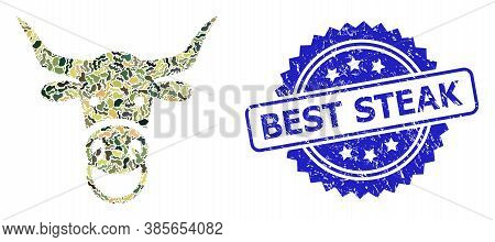 Military Camouflage Composition Of Bull Head, And Best Steak Scratched Rosette Stamp Seal. Blue Stam