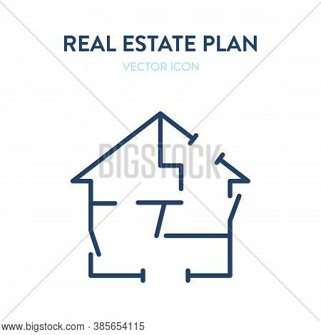 Real Estate Plan Drawing Icon. Vector Illustration Of A House Construction Plan. Represents A Concep