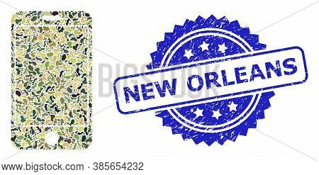 Military Camouflage Combination Of Phone Screen, And New Orleans Scratched Rosette Stamp. Blue Stamp