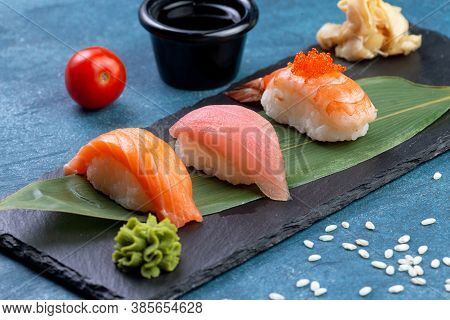 Classic Sushi. With Salmon, Tuna And Shrimp
