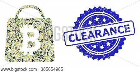 Military Camouflage Combination Of Bitcoin Shopping Bag, And Clearance Rubber Rosette Stamp. Blue St