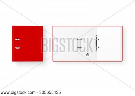 Vector 3d Closed And Opened Realistic Red Blank Office Binder Set With Metal Rings With A4 Paper She